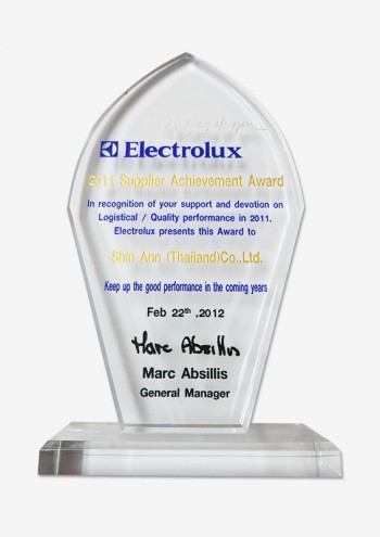 Electrolux Thailand Best supplier of year 2011 수상